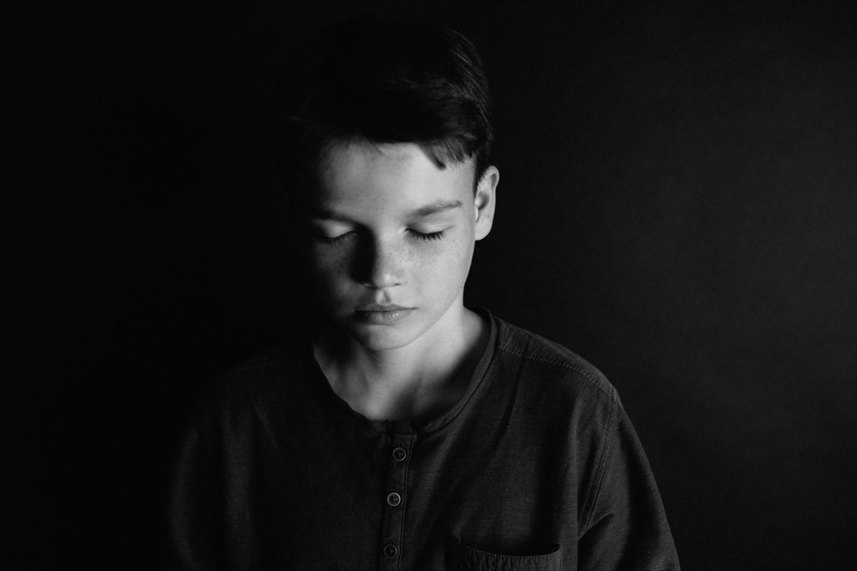 Kinderportrait, schwarzweiss, Kunst